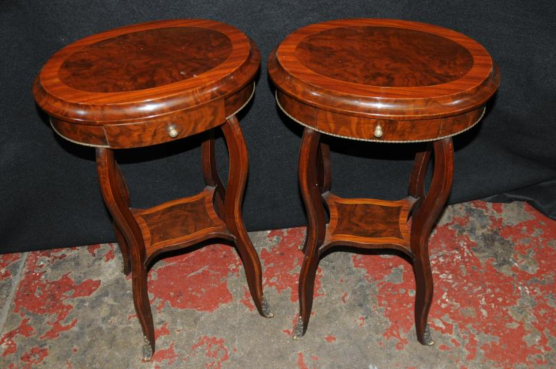 Photo of Pair Walnut French Regency Side Cocktail Tables