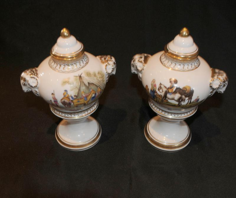 Photo of Paris Sevres Beclim Porcelain Dog Vases Urns