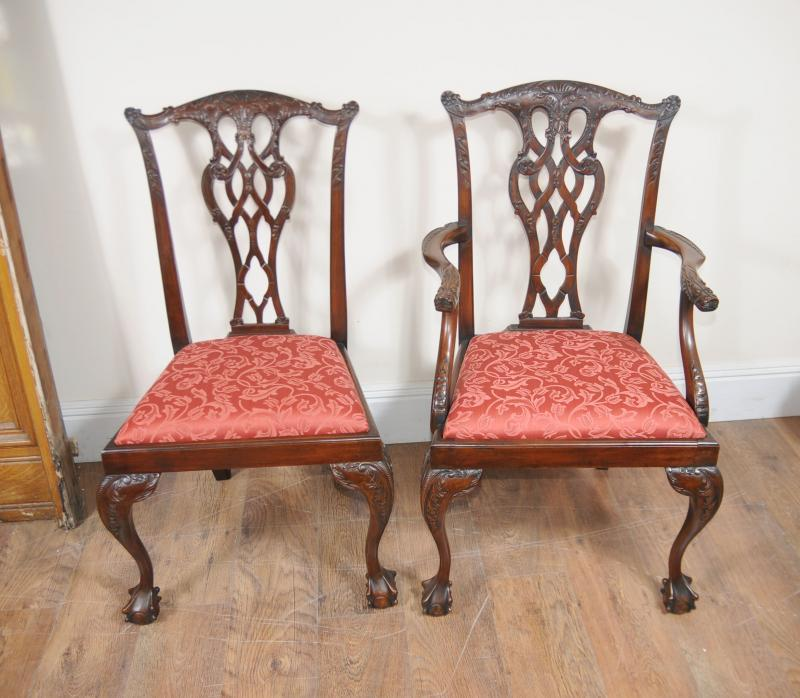 Photo of Regency Dining Set Pedestal Table and 10 Chippendale Chairs Mahogany Suite