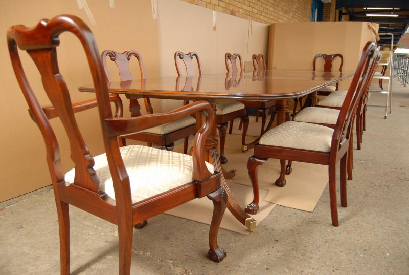 Photo of Regency Dining Table Set Queen Anne Chairs Suite