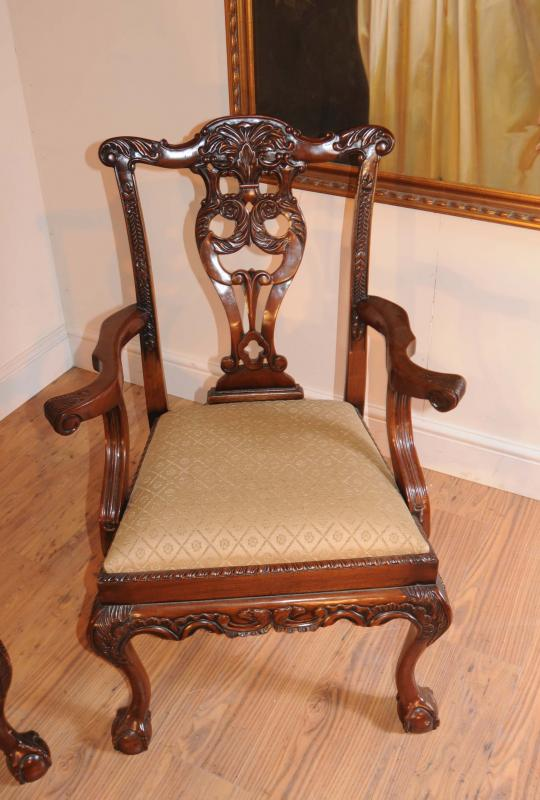 Photo of Regency Pedestal Table & Set Chippendale Dining Chairs Suite