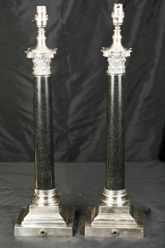 Photo of Regency Silver Plate Table Lamps Lights Column