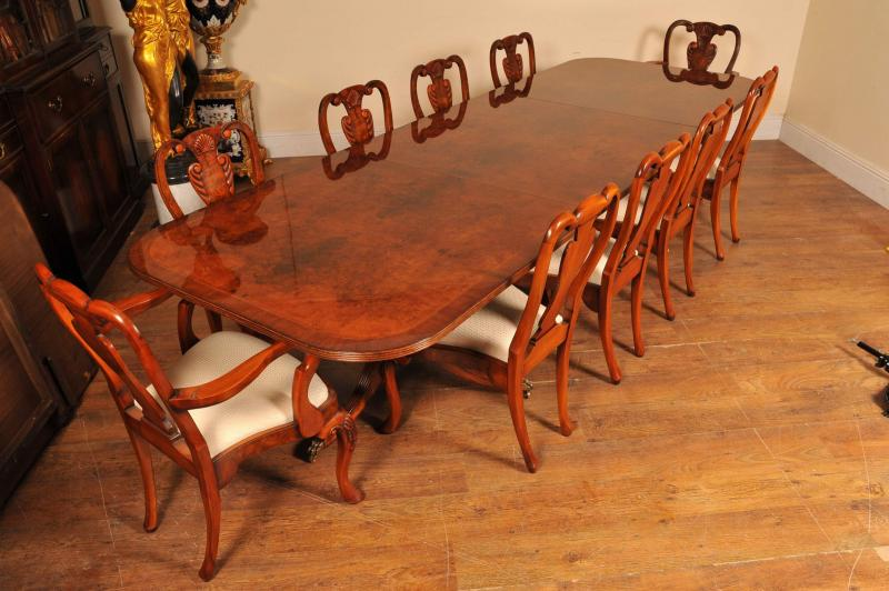 Photo of Regency Walnut Dining Table Set Queen Anne Chairs Tables Suite Furniture