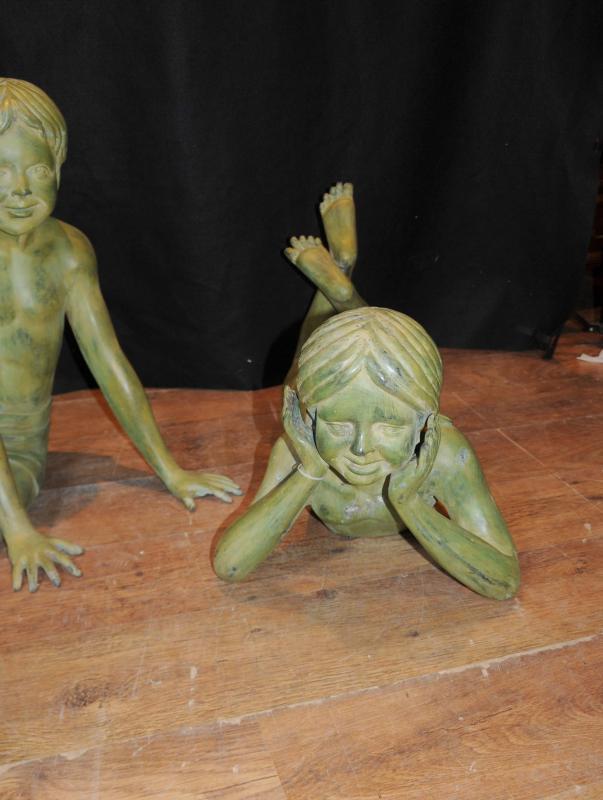 Photo of  Set 3 Bronze Lifesize Children Statues Architectural Garden Art Figurines