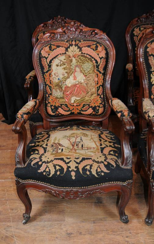 Photo of Set 4 Antique Woven Arm Chairs Seats Mahogany Tapestry Fauteil