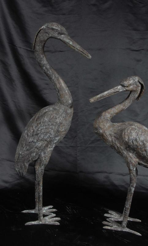 Photo of Set 4 Bronze Japanese Cranes Birds Crane Stork