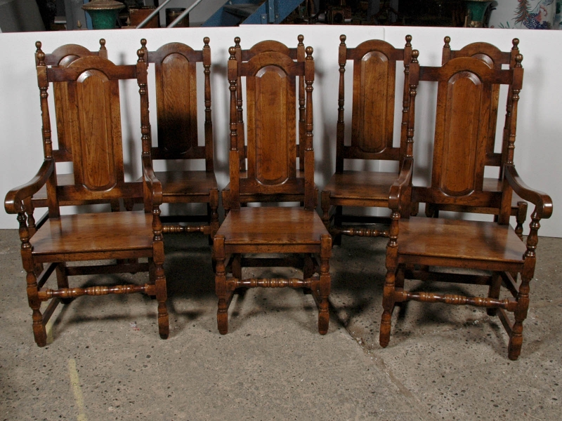 8 Elizabethan Tudor Oak Farmhouse Dining Chairs English