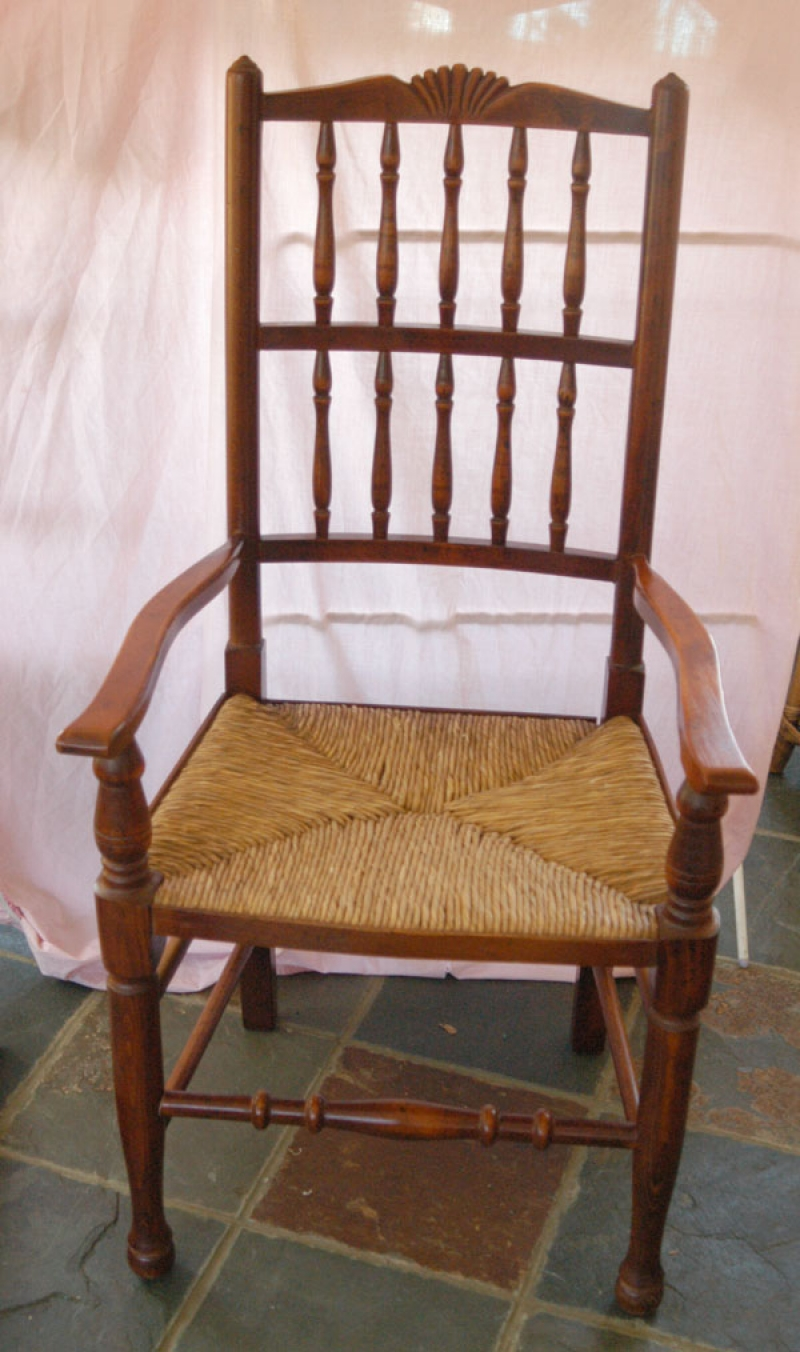 Photo of Set 8 French Rustic Spindleback Chairs in Oak