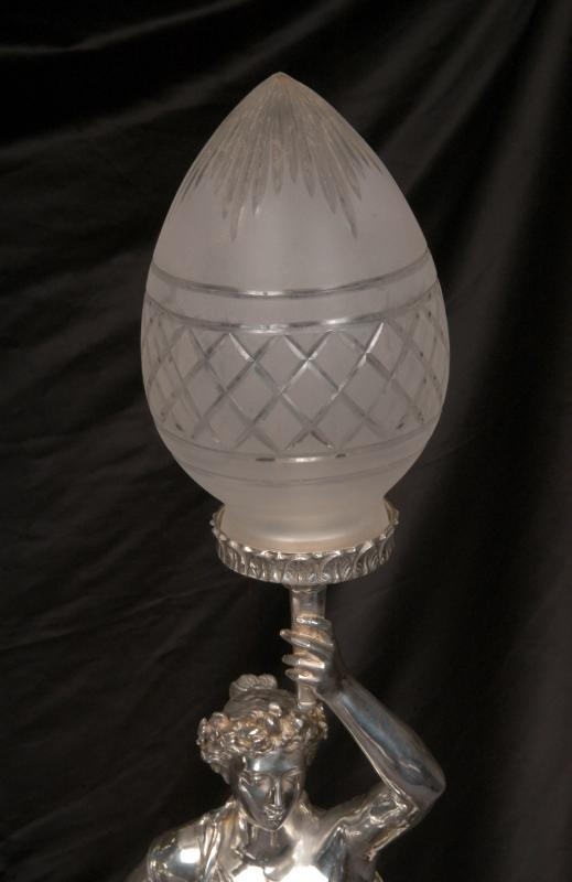 Photo of Silver Plate Gregoire Bronze Lamps Torcheres Signed