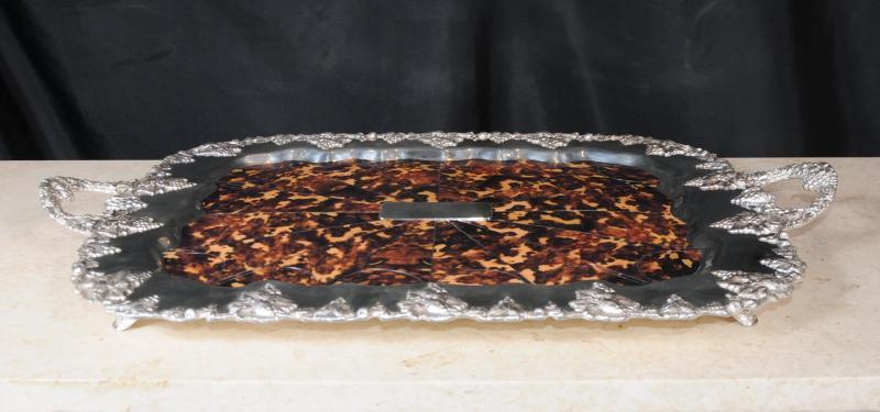 Photo of Silver Plate Tray Grape Platter Faux Tortoiseshell Silverplate