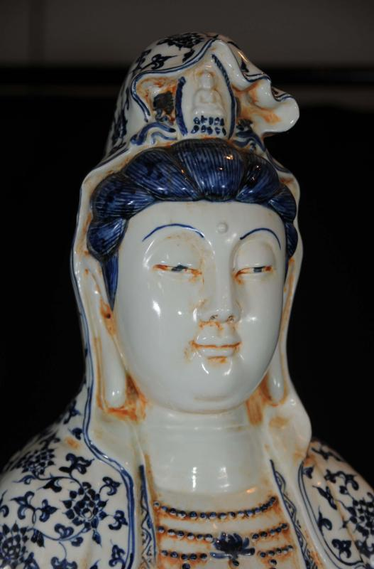 Photo of Tall Nanking Pottery Chinese Figurine Nanking Porcelain Statue