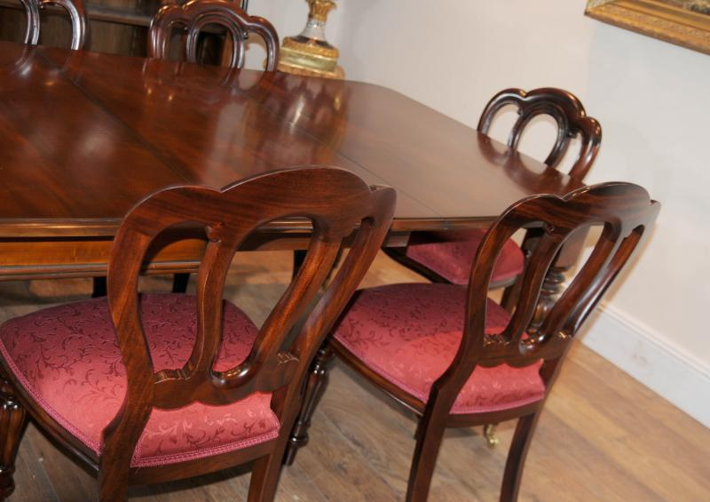 Photo of Victorian Balloon Back Chair Table Dining Suite Set Mahogany