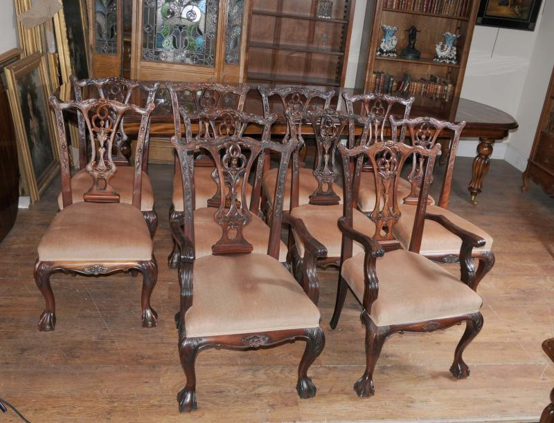 Victorian Dining Table Set Chippendale Chairs Set Suite Mahogany | EBay