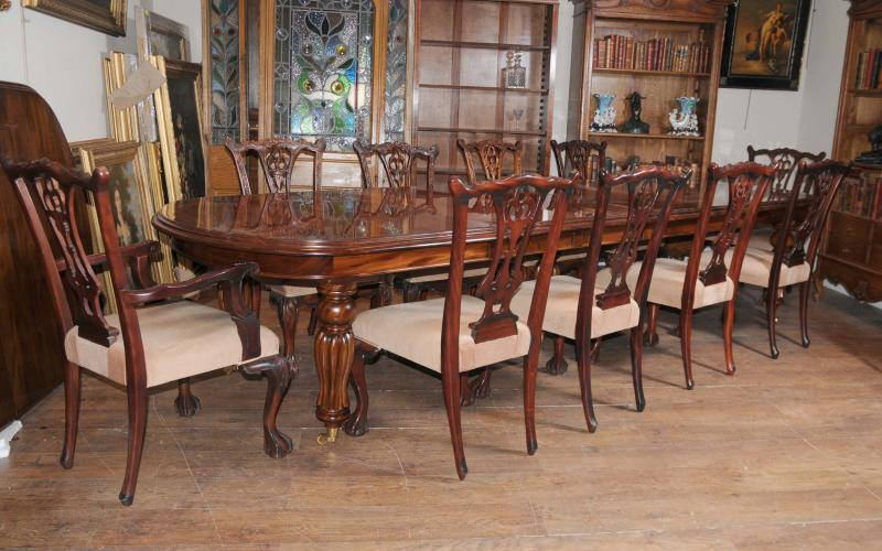 Victorian Dining Table Set Chippendale Chairs Suite Mahogany
