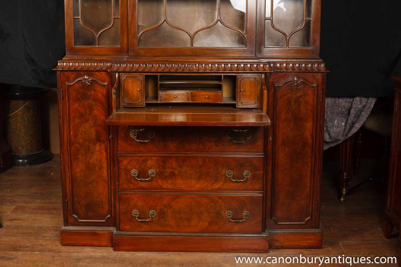 Photo of Victorian Gothic Breakfront Bookcase Mahogany Bookcases Chippendale