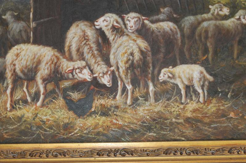 Photo of Victorian Oil Painting Sheep Pastoral Scene Gilt Frame