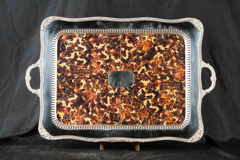 Photo of Victorian Silver Plate Tray Platter Faux Tortoiseshell