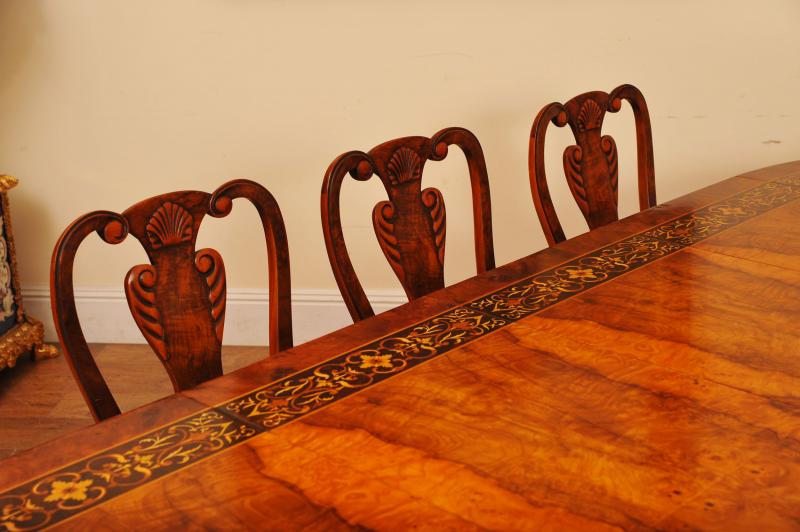 Photo of Walnut Italian Marquetry Dining Table Queen Anne Chair Set