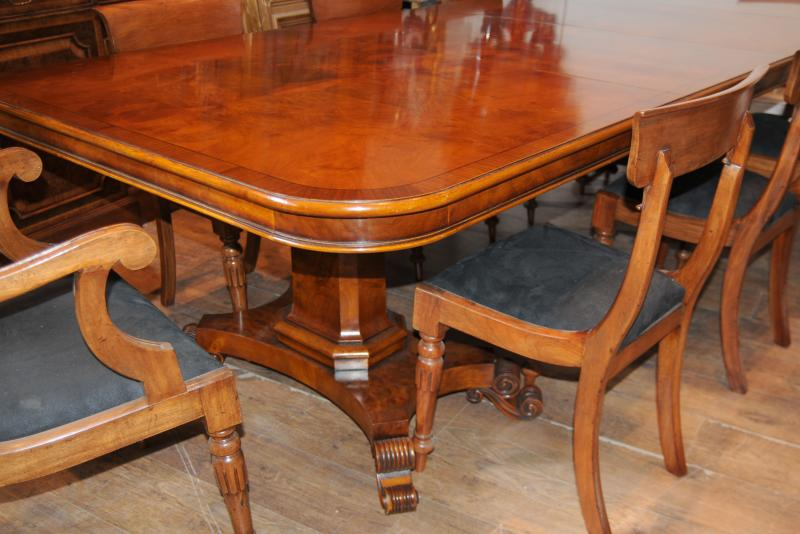 Photo of Walnut Regency Dining Table & Chairs Set Suite