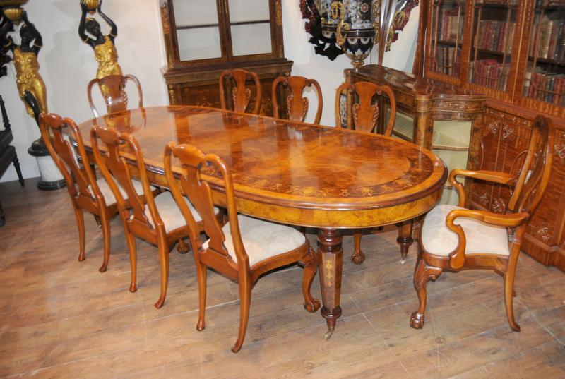 Walnut Victorian Dining Table Queen Anne Chair Set Ebay