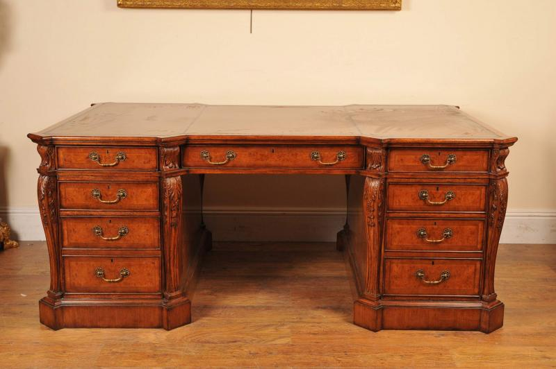 Photo of Walnut Victorian Partners Desk Writing Tables Office
