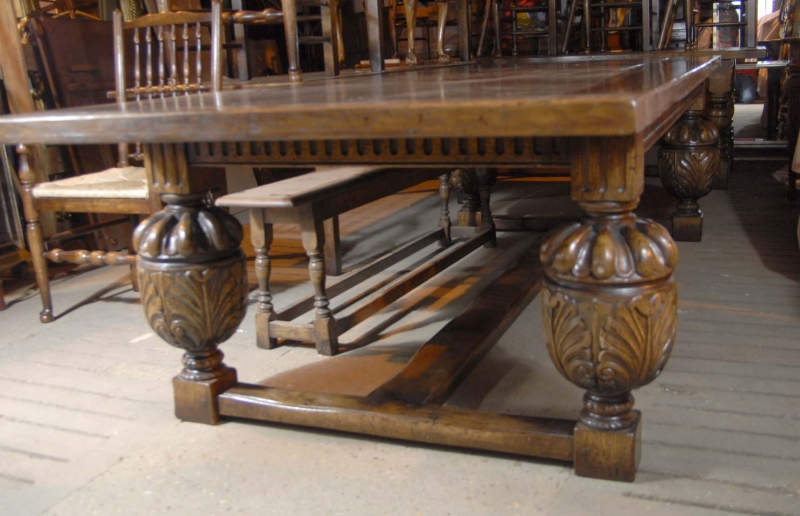 Photo of XL 10 ft French Oak Rustic Refectory Kitchen Dining Table