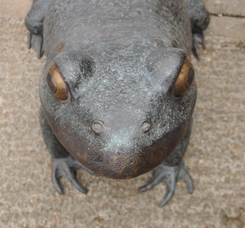 Photo of XL Bronze Frog Toad Statue Garden Art Animal Statues