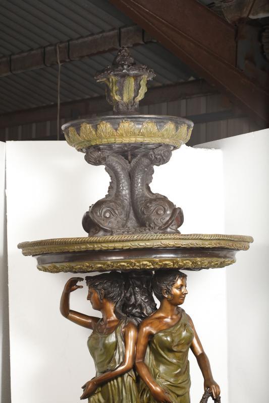 Photo of XL Italian Renaissance Bronze Serpent Maiden Fountain